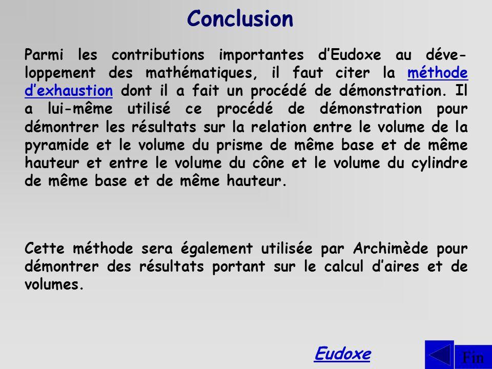 Conclusion Fin Parmi les contributions importantes dEudoxe au déve- loppement des mathématiques, il faut citer la méthode dexhaustion dont il a fait un procédé de démonstration.