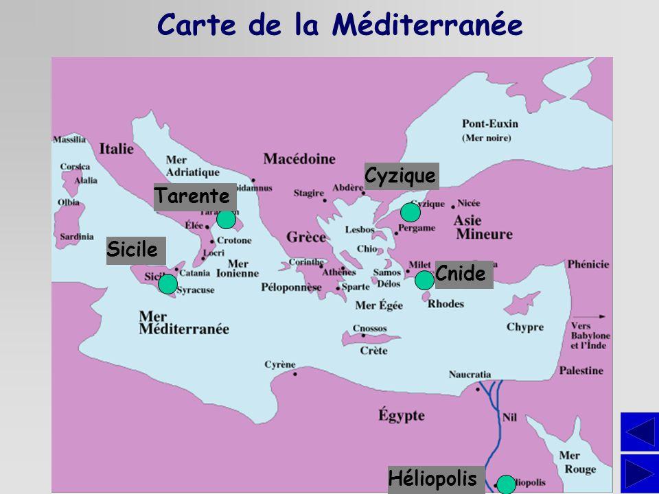 Carte de la Méditerranée Cnide Tarente Sicile Héliopolis Cyzique
