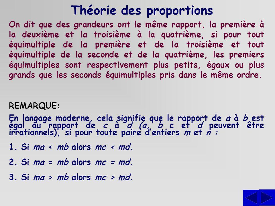 Théorie des proportions On dit que des grandeurs ont le même rapport, la première à la deuxième et la troisième à la quatrième, si pour tout équimulti