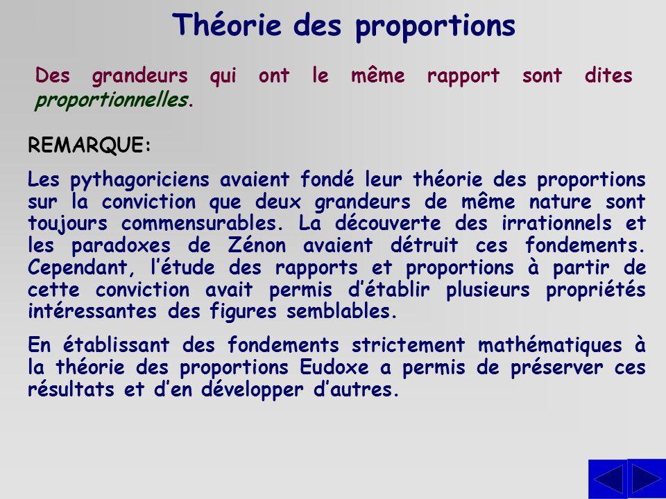 Théorie des proportions Des grandeurs qui ont le même rapport sont dites proportionnelles. REMARQUE: Les pythagoriciens avaient fondé leur théorie des