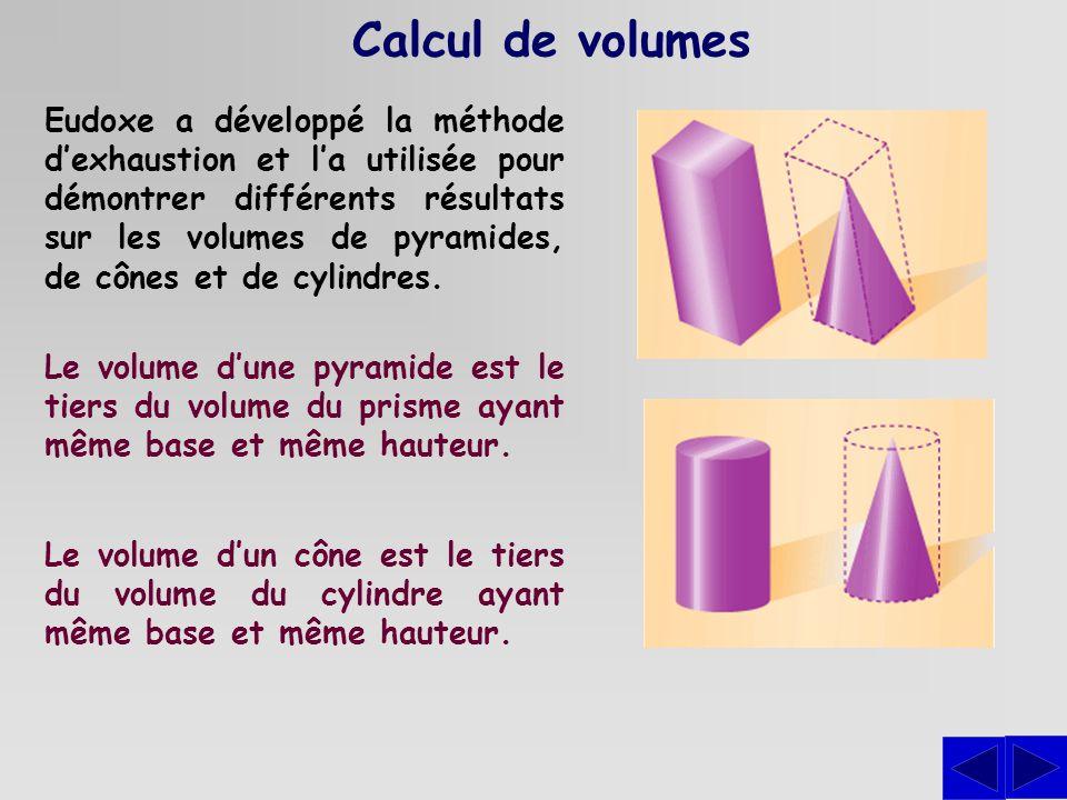 Calcul de volumes Eudoxe a développé la méthode dexhaustion et la utilisée pour démontrer différents résultats sur les volumes de pyramides, de cônes et de cylindres.