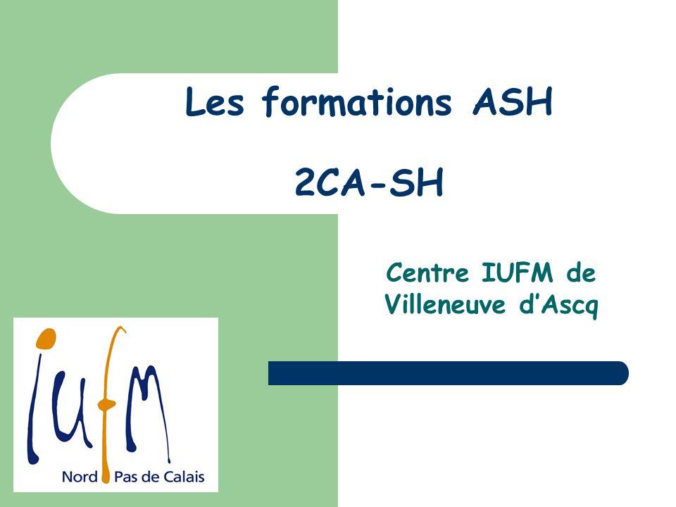 Les formations ASH 2CA-SH Centre IUFM de Villeneuve dAscq