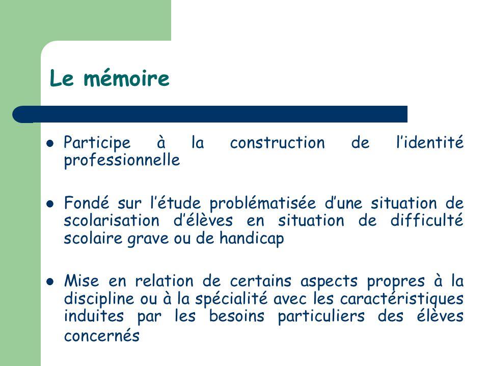Le mémoire Participe à la construction de lidentité professionnelle Fondé sur létude problématisée dune situation de scolarisation délèves en situatio