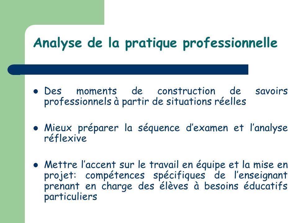 Analyse de la pratique professionnelle Des moments de construction de savoirs professionnels à partir de situations réelles Mieux préparer la séquence