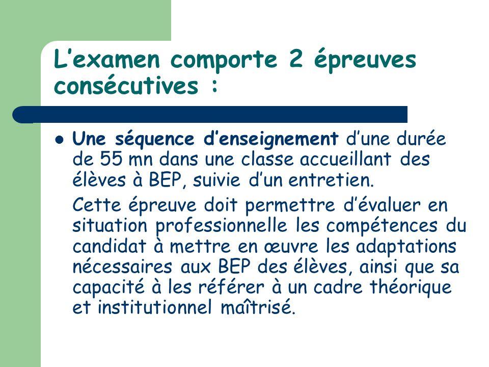 Lexamen comporte 2 épreuves consécutives : Une séquence denseignement dune durée de 55 mn dans une classe accueillant des élèves à BEP, suivie dun ent