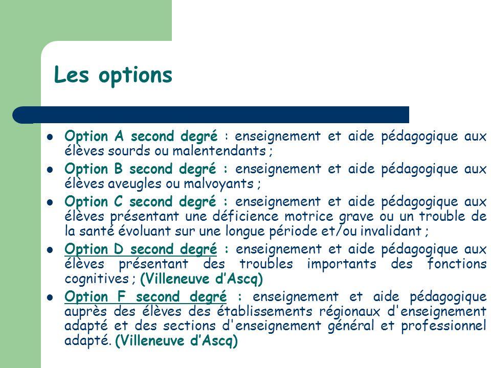 Les options Option A second degré : enseignement et aide pédagogique aux élèves sourds ou malentendants ; Option B second degré : enseignement et aide
