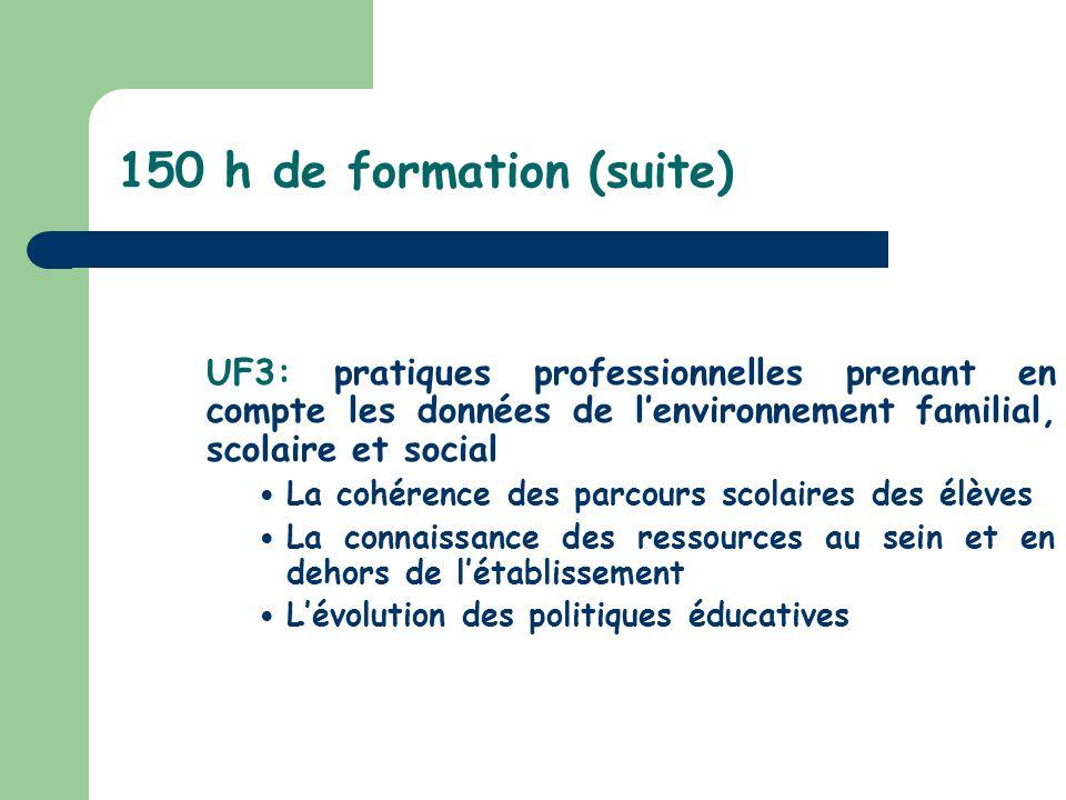 150 h de formation (suite) UF3: pratiques professionnelles prenant en compte les données de lenvironnement familial, scolaire et social La cohérence d