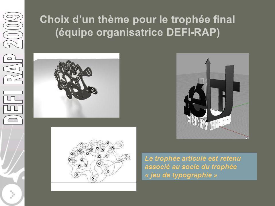 Choix dun thème pour le trophée final (équipe organisatrice DEFI-RAP) Le trophée articulé est retenu associé au socle du trophée « jeu de typographie