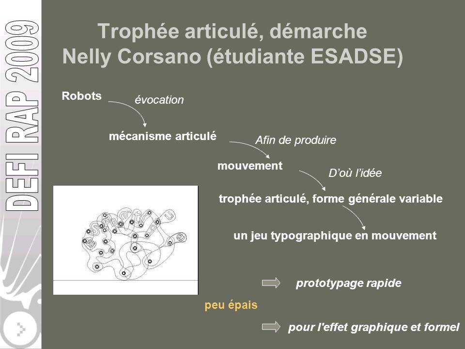 Trophée articulé, démarche Nelly Corsano (étudiante ESADSE) Robots mécanisme articulé évocation mouvement trophée articulé, forme générale variable un