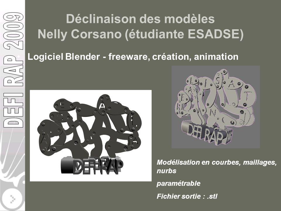 Déclinaison des modèles Nelly Corsano (étudiante ESADSE) Logiciel Blender - freeware, création, animation Modélisation en courbes, maillages, nurbs pa
