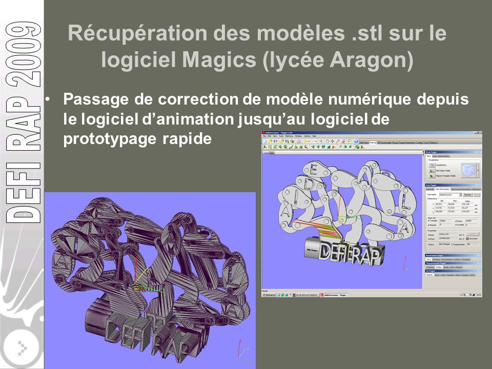 Récupération des modèles.stl sur le logiciel Magics (lycée Aragon) Passage de correction de modèle numérique depuis le logiciel danimation jusquau log