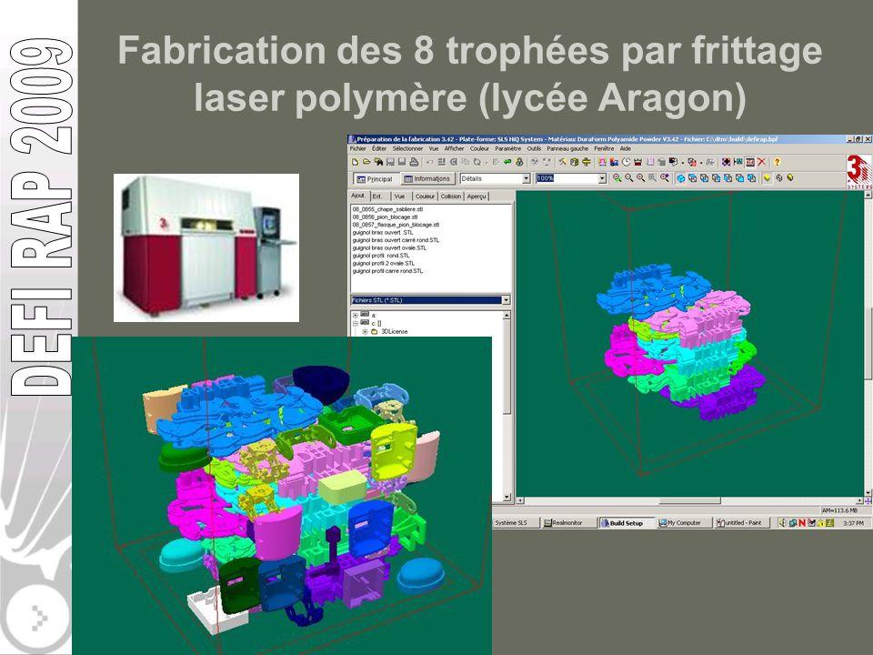 Fabrication des 8 trophées par frittage laser polymère (lycée Aragon)