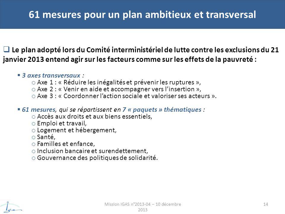 61 mesures pour un plan ambitieux et transversal Mission IGAS n°2013-04 – 10 décembre 2013 Le plan adopté lors du Comité interministériel de lutte contre les exclusions du 21 janvier 2013 entend agir sur les facteurs comme sur les effets de la pauvreté : 3 axes transversaux : o Axe 1 : « Réduire les inégalités et prévenir les ruptures », o Axe 2 : « Venir en aide et accompagner vers linsertion », o Axe 3 : « Coordonner laction sociale et valoriser ses acteurs ».