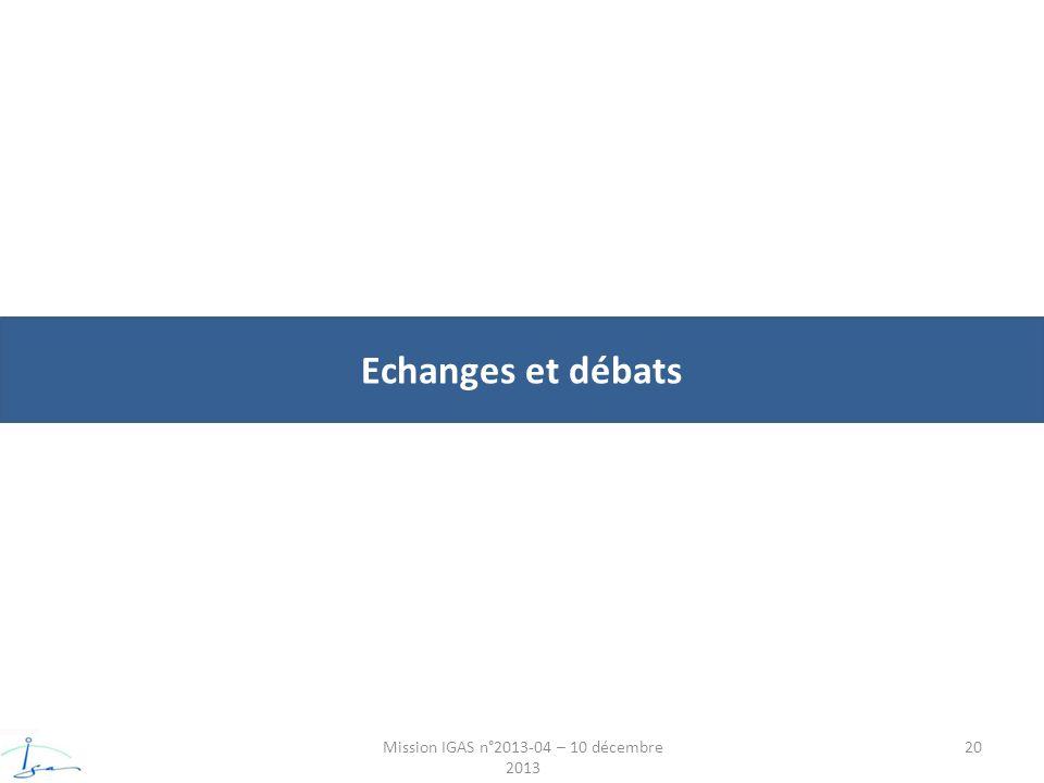 Echanges et débats Mission IGAS n°2013-04 – 10 décembre 2013 20