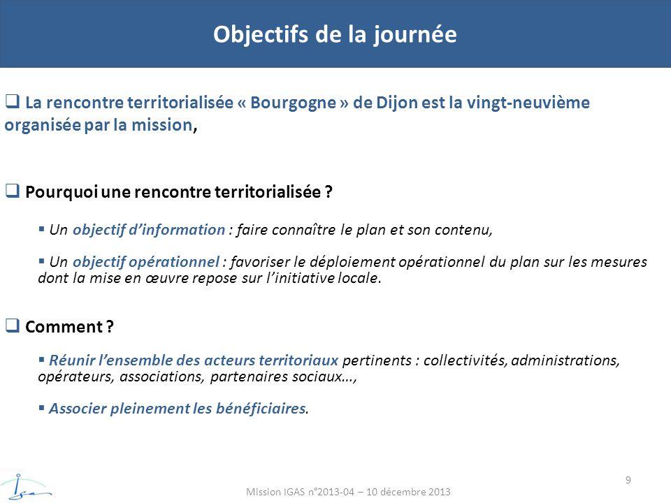 Objectifs de la journée Mission IGAS n°2013-04 – 10 décembre 2013 La rencontre territorialisée « Bourgogne » de Dijon est la vingt-neuvième organisée par la mission, Pourquoi une rencontre territorialisée .