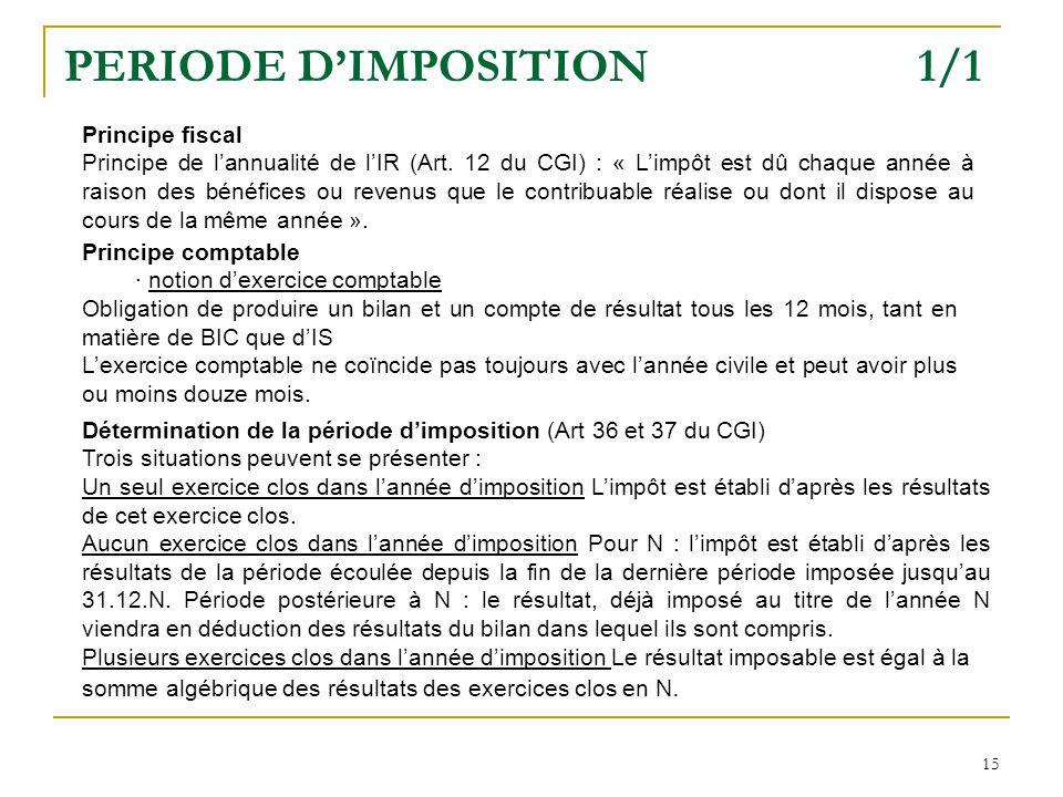 15 PERIODE DIMPOSITION 1/1 Principe fiscal Principe de lannualité de lIR (Art.