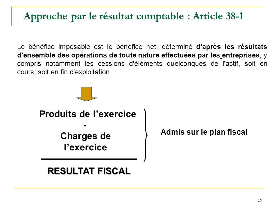 19 Approche par le résultat comptable : Article 38-1 Le bénéfice imposable est le bénéfice net, déterminé d après les résultats d ensemble des opérations de toute nature effectuées par les entreprises, y compris notamment les cessions d éléments quelconques de l actif, soit en cours, soit en fin d exploitation.