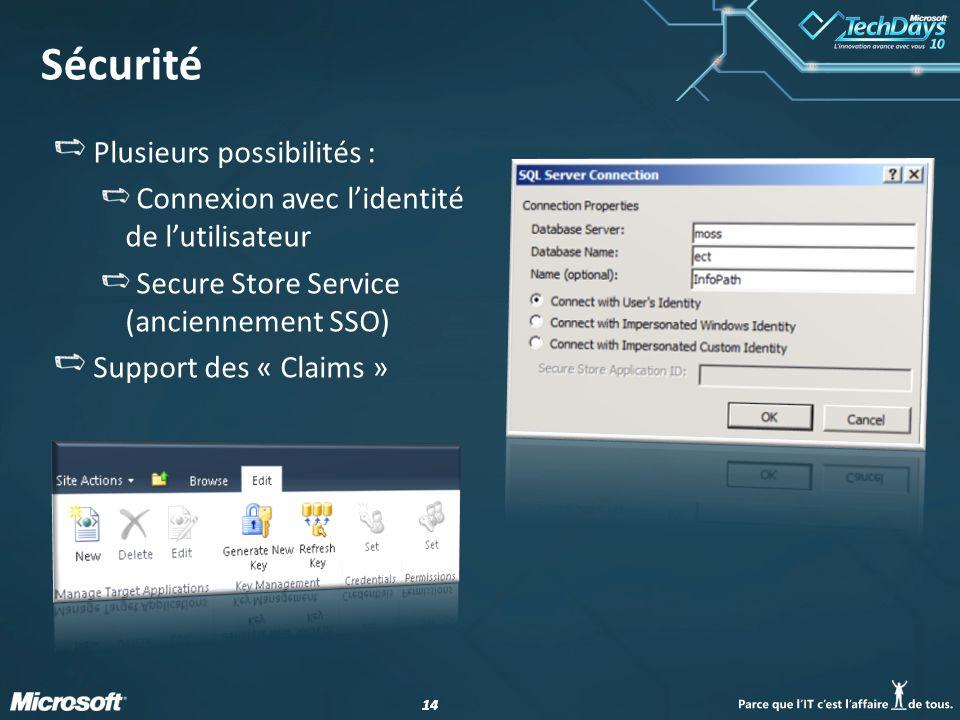14 Sécurité Plusieurs possibilités : Connexion avec lidentité de lutilisateur Secure Store Service (anciennement SSO) Support des « Claims »