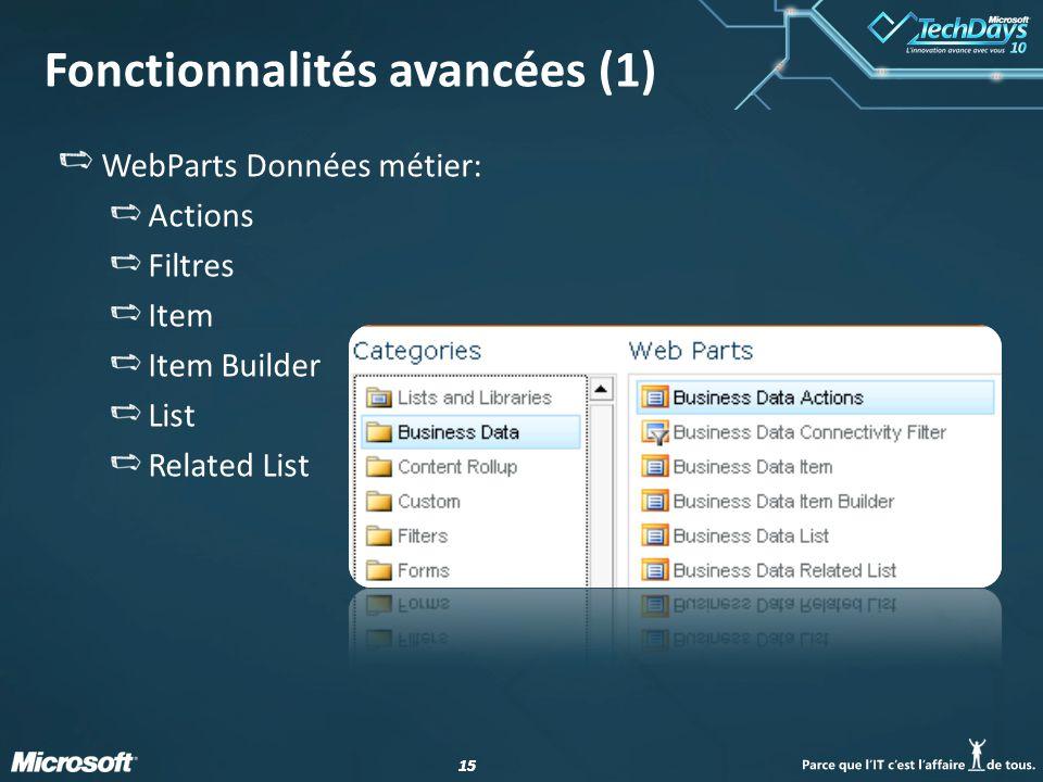 15 Fonctionnalités avancées (1) WebParts Données métier: Actions Filtres Item Item Builder List Related List