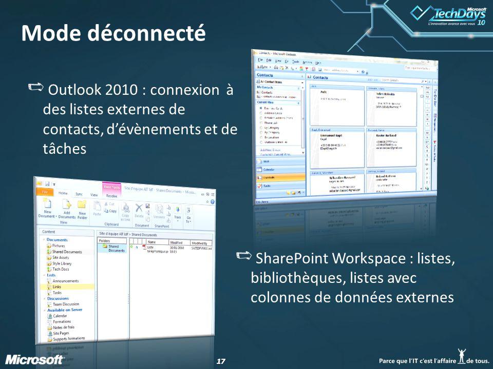 17 Mode déconnecté Outlook 2010 : connexion à des listes externes de contacts, dévènements et de tâches SharePoint Workspace : listes, bibliothèques, listes avec colonnes de données externes