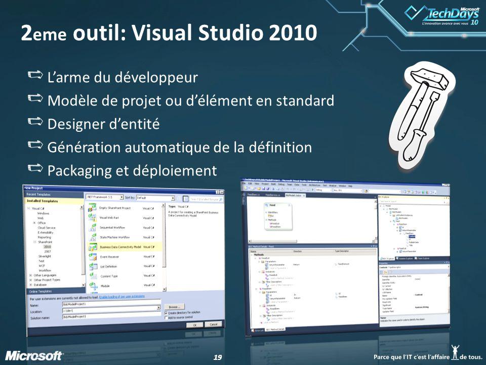 19 2 eme outil: Visual Studio 2010 Larme du développeur Modèle de projet ou délément en standard Designer dentité Génération automatique de la définition Packaging et déploiement