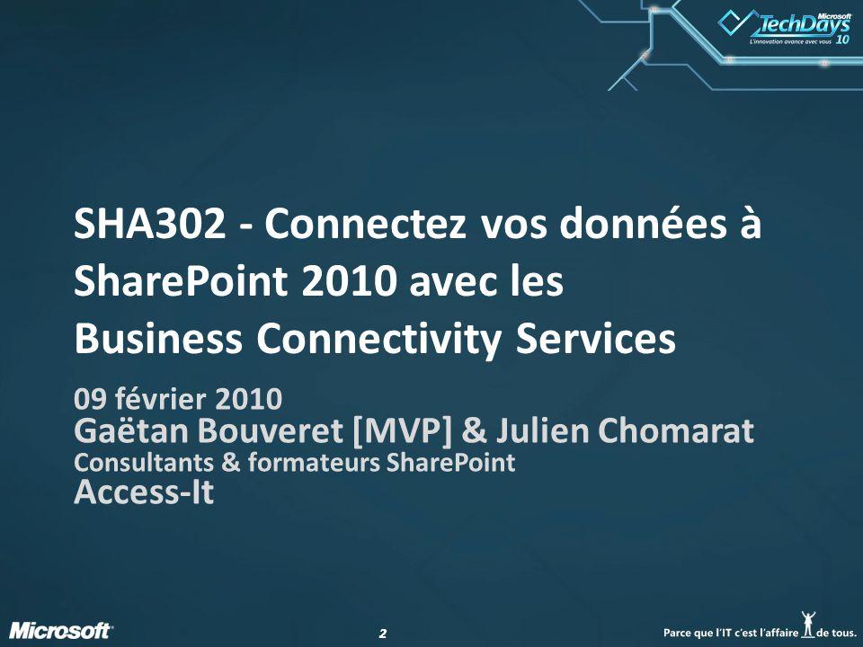22 SHA302 - Connectez vos données à SharePoint 2010 avec les Business Connectivity Services 09 février 2010 Gaëtan Bouveret [MVP] & Julien Chomarat Consultants & formateurs SharePoint Access-It