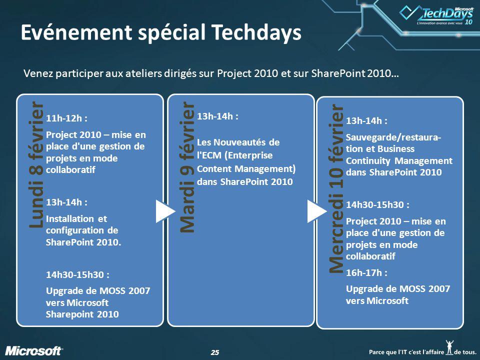 25 Evénement spécial Techdays Venez participer aux ateliers dirigés sur Project 2010 et sur SharePoint 2010… Lundi 8 février 11h-12h : Project 2010 – mise en place d une gestion de projets en mode collaboratif 13h-14h : Installation et configuration de SharePoint 2010.