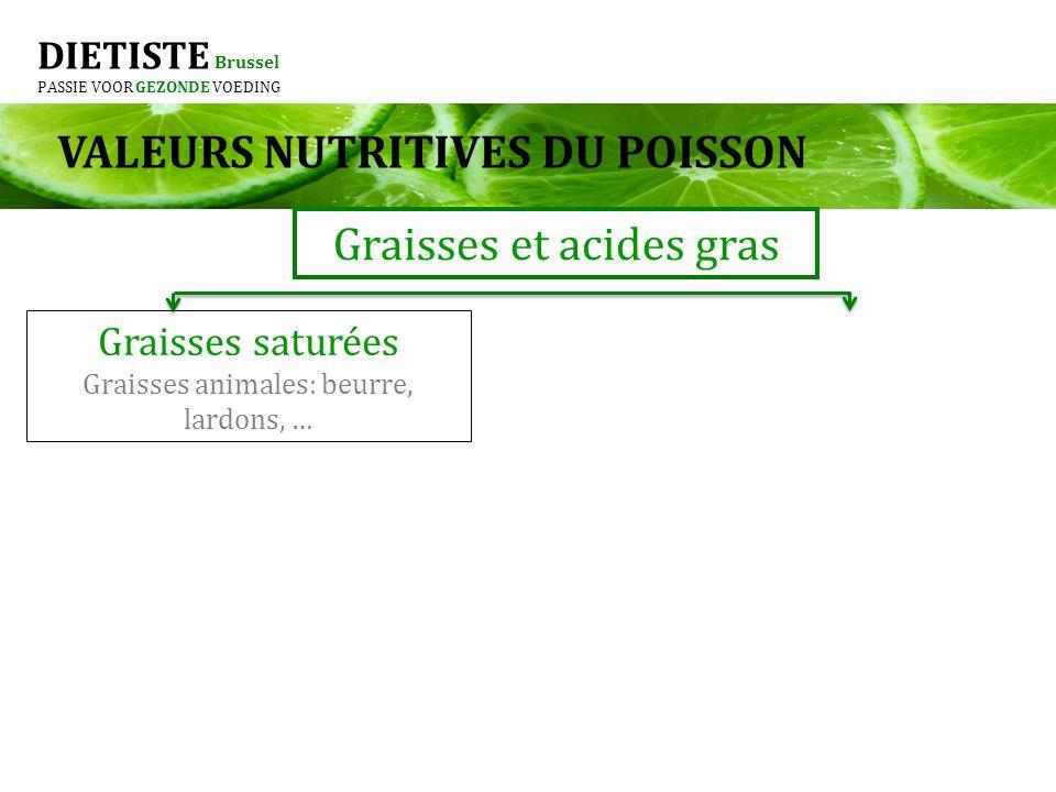 DIETISTE Brussel PASSIE VOOR GEZONDE VOEDING Graisses et acides gras Graisses saturées Graisses animales: beurre, lardons, … VALEURS NUTRITIVES DU POI