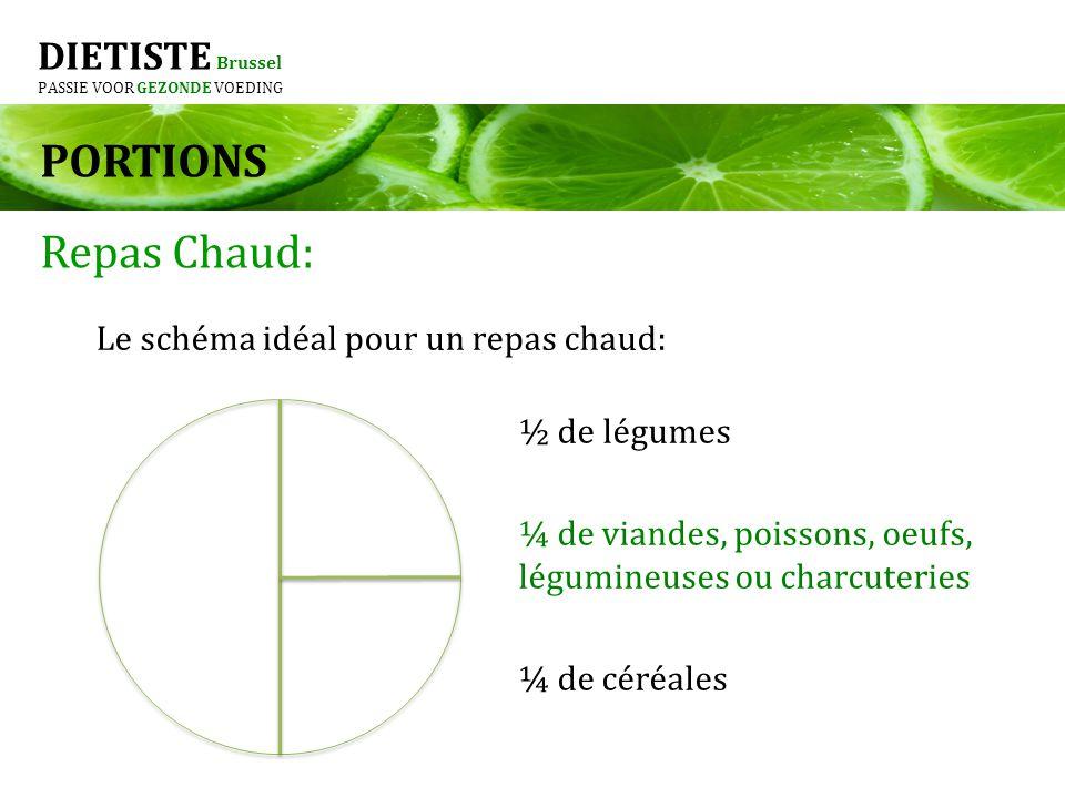 DIETISTE Brussel PASSIE VOOR GEZONDE VOEDING PORTIONS Repas Chaud: Le schéma idéal pour un repas chaud: ½ de légumes ¼ de viandes, poissons, oeufs, lé