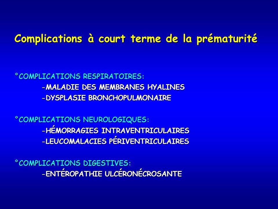 Complications à court terme de la prématurité °COMPLICATIONS RESPIRATOIRES: -MALADIE DES MEMBRANES HYALINES -MALADIE DES MEMBRANES HYALINES -DYSPLASIE BRONCHOPULMONAIRE -DYSPLASIE BRONCHOPULMONAIRE °COMPLICATIONS NEUROLOGIQUES: -HÉMORRAGIES INTRAVENTRICULAIRES -HÉMORRAGIES INTRAVENTRICULAIRES -LEUCOMALACIES PÉRIVENTRICULAIRES -LEUCOMALACIES PÉRIVENTRICULAIRES °COMPLICATIONS DIGESTIVES: -ENTÉROPATHIE ULCÉRONÉCROSANTE -ENTÉROPATHIE ULCÉRONÉCROSANTE