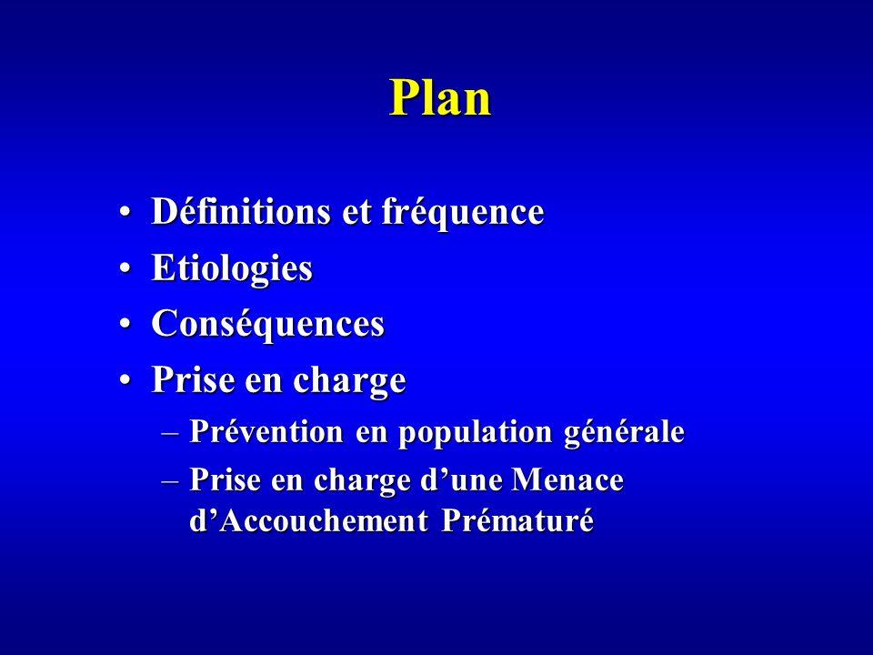 Plan Définitions et fréquenceDéfinitions et fréquence EtiologiesEtiologies ConséquencesConséquences Prise en chargePrise en charge –Prévention en population générale –Prise en charge dune Menace dAccouchement Prématuré