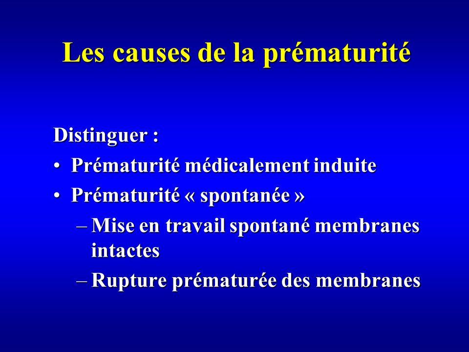Les causes de la prématurité Distinguer : Prématurité médicalement induitePrématurité médicalement induite Prématurité « spontanée »Prématurité « spontanée » –Mise en travail spontané membranes intactes –Rupture prématurée des membranes