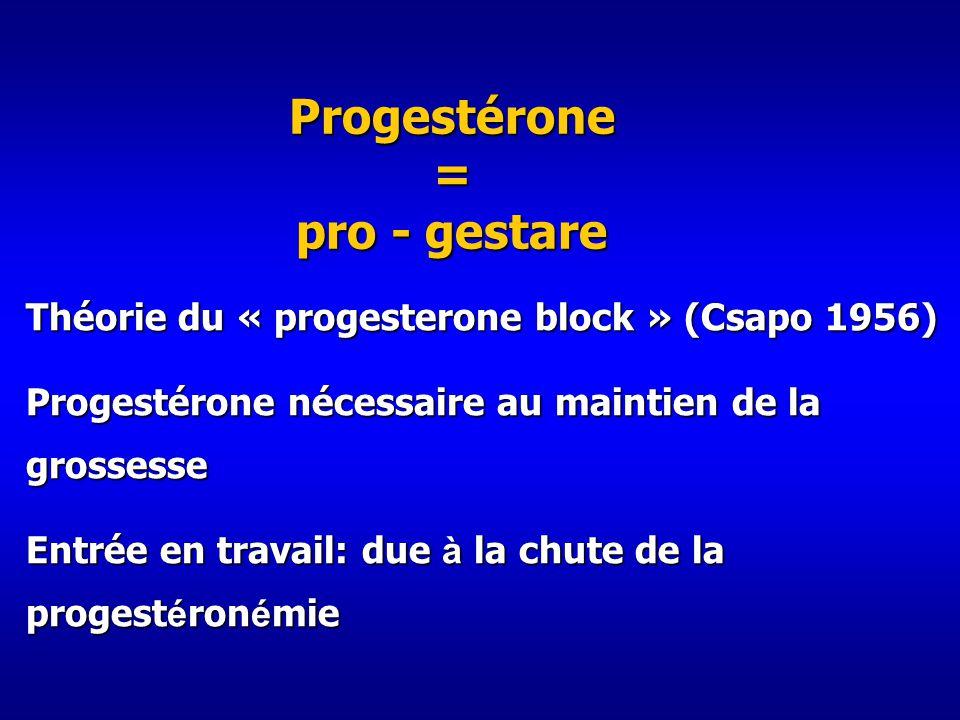 Progestérone = pro - gestare Théorie du « progesterone block » (Csapo 1956) Progestérone nécessaire au maintien de la grossesse Entrée en travail: due à la chute de la progest é ron é mie