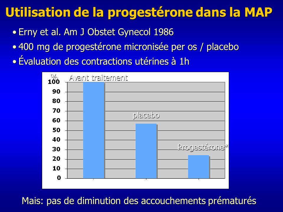 Utilisation de la progestérone dans la MAP Erny et al.