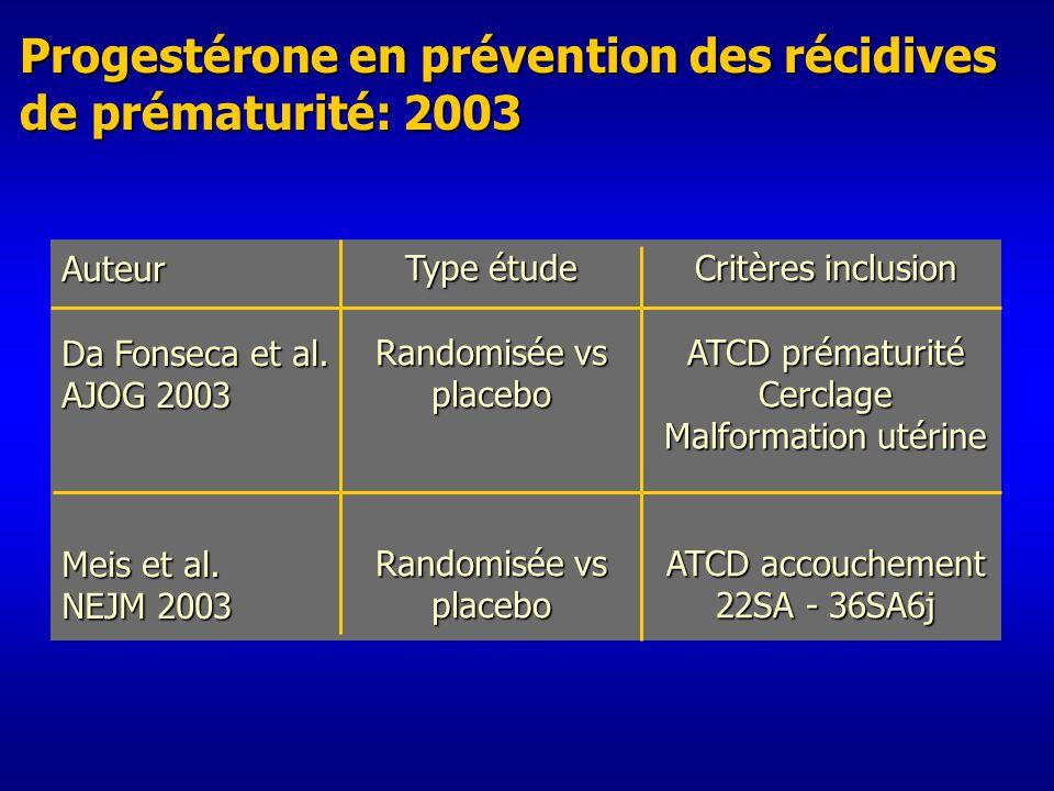 Progestérone en prévention des récidives de prématurité: 2003 Auteur Da Fonseca et al.