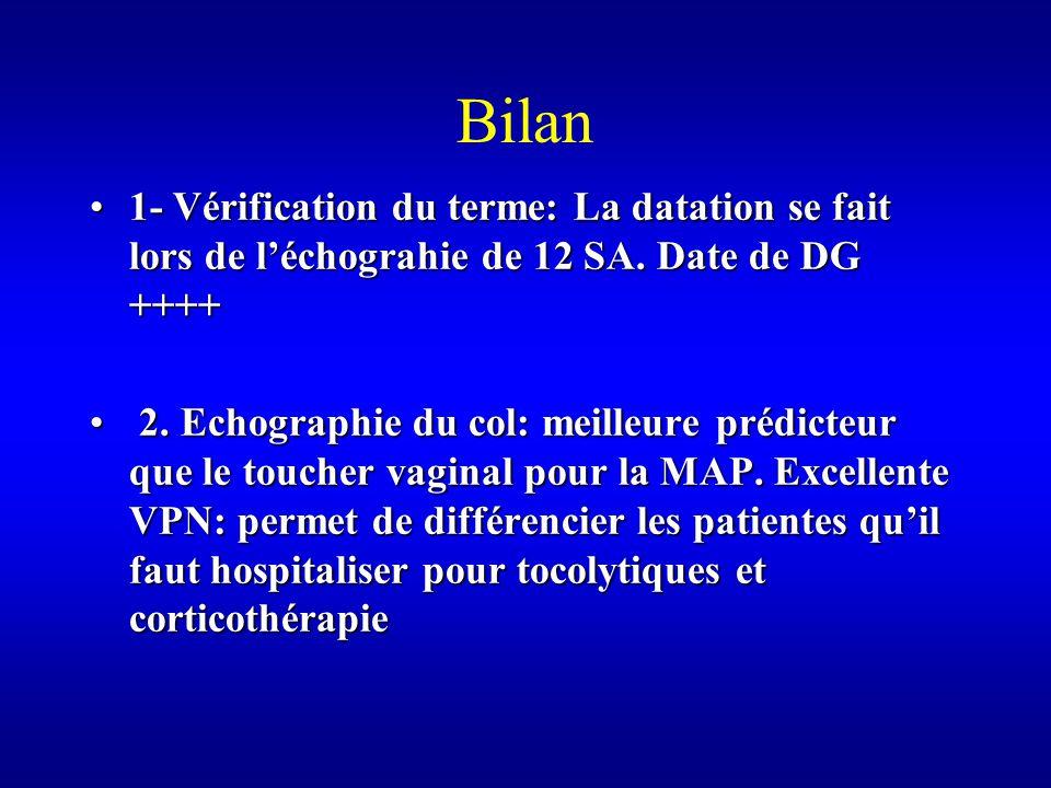 Bilan 1- Vérification du terme: La datation se fait lors de léchograhie de 12 SA.