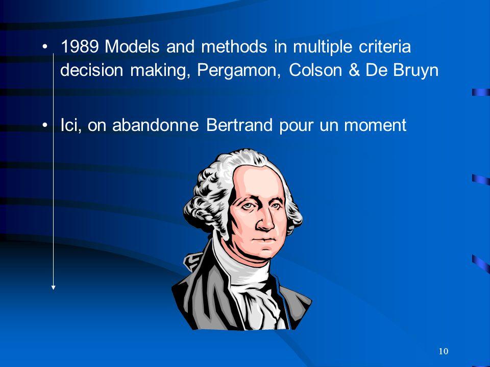 10 1989 Models and methods in multiple criteria decision making, Pergamon, Colson & De Bruyn Ici, on abandonne Bertrand pour un moment