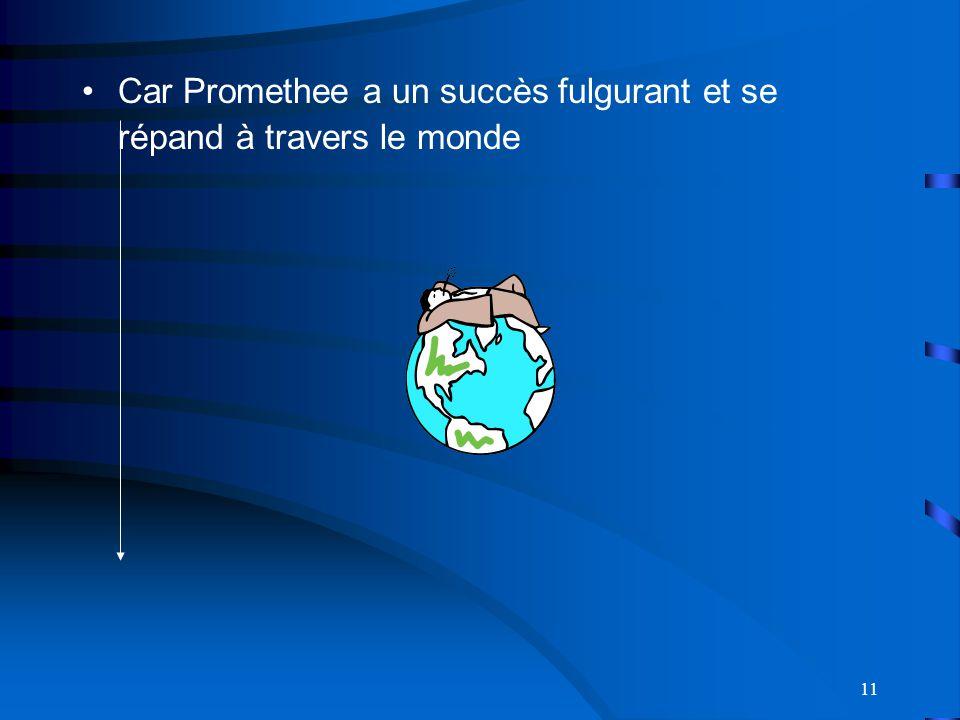 11 Car Promethee a un succès fulgurant et se répand à travers le monde