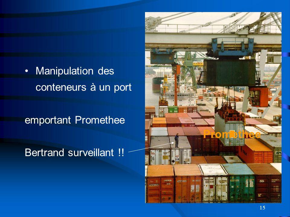 15 Manipulation des conteneurs à un port emportant Promethee Bertrand surveillant !! Promethee