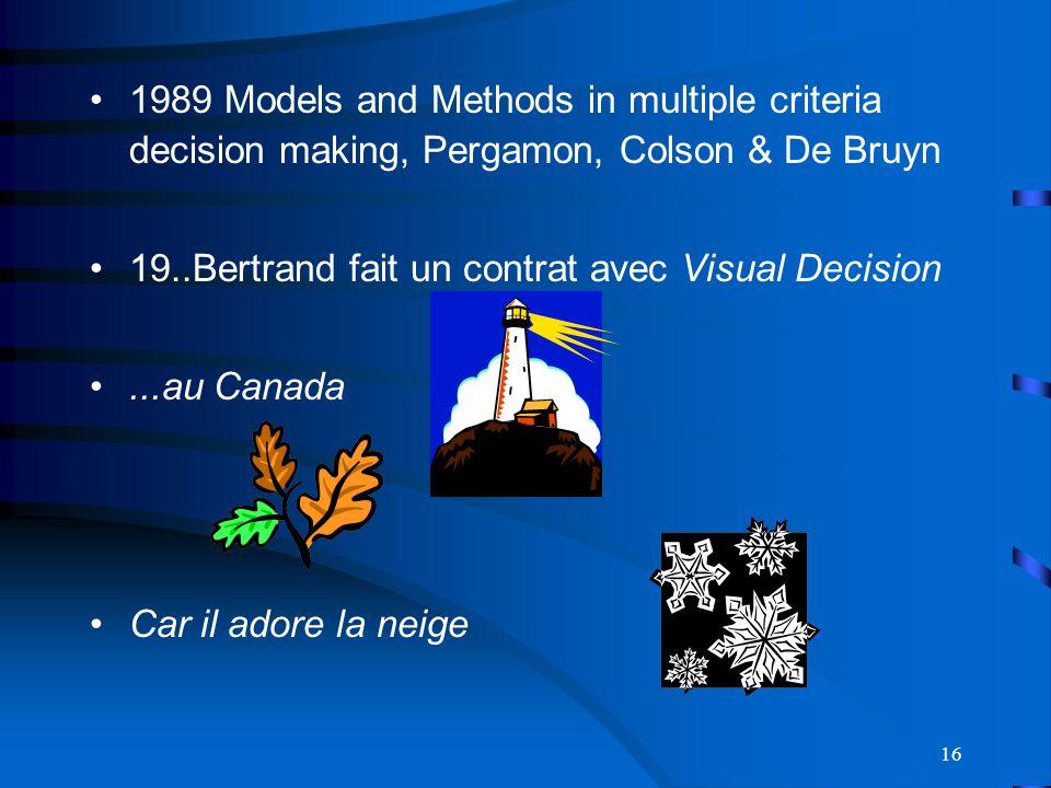 16 1989 Models and Methods in multiple criteria decision making, Pergamon, Colson & De Bruyn 19..Bertrand fait un contrat avec Visual Decision...au Canada Car il adore la neige