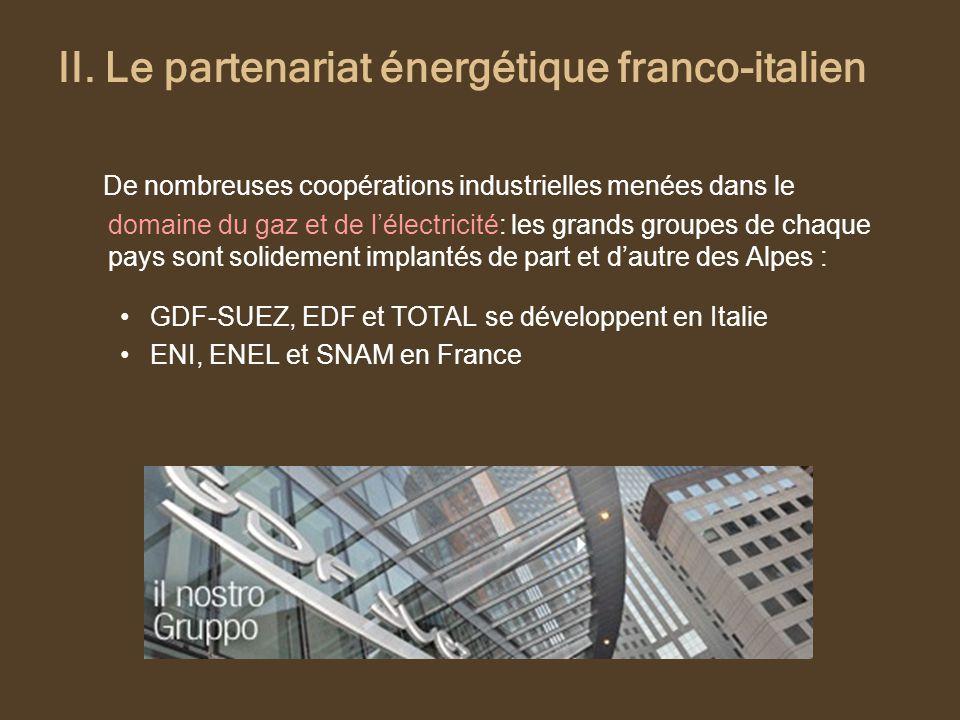 II. Le partenariat énergétique franco-italien De nombreuses coopérations industrielles menées dans le domaine du gaz et de lélectricité: les grands gr