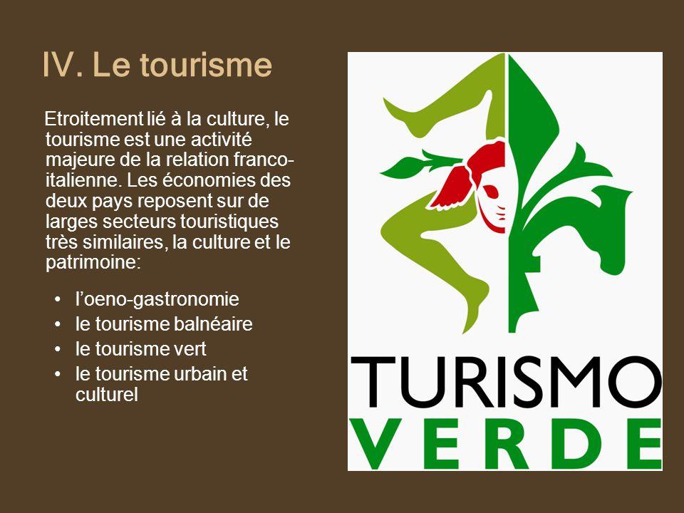 IV. Le tourisme Etroitement lié à la culture, le tourisme est une activité majeure de la relation franco- italienne. Les économies des deux pays repos