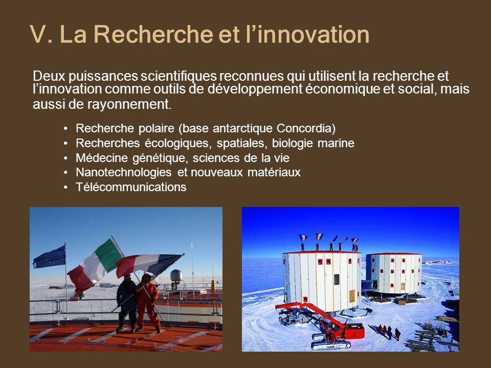 V. La Recherche et linnovation Deux puissances scientifiques reconnues qui utilisent la recherche et linnovation comme outils de développement économi