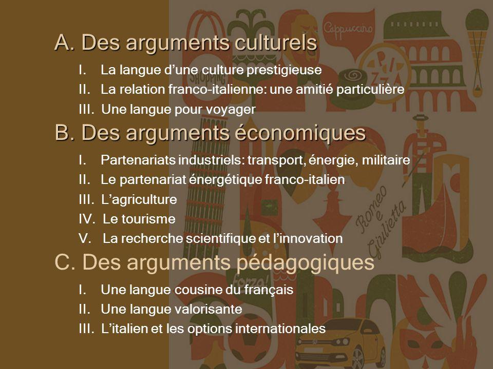 A. Des arguments culturels I. La langue dune culture prestigieuse II.