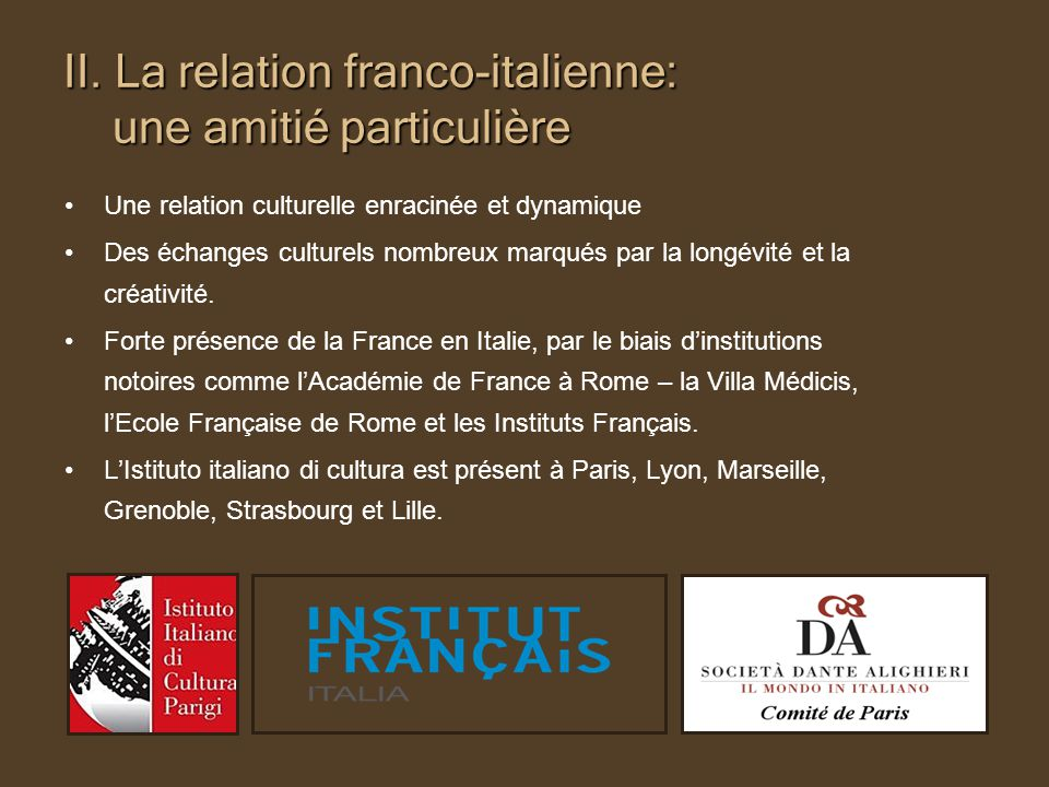 II. La relation franco-italienne: une amitié particulière Une relation culturelle enracinée et dynamique Des échanges culturels nombreux marqués par l