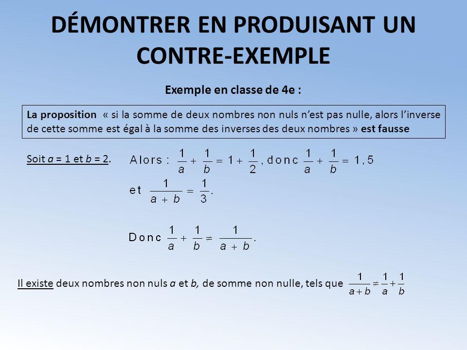 La proposition « si la somme de deux nombres non nuls nest pas nulle, alors linverse de cette somme est égal à la somme des inverses des deux nombres