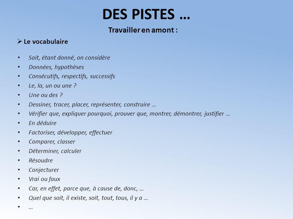 DES PISTES … Soit, étant donné, on considère Données, hypothèses Consécutifs, respectifs, successifs Le, la, un ou une ? Une ou des ? Dessiner, tracer