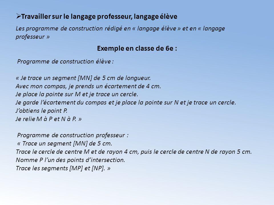 Travailler sur le langage professeur, langage élève Programme de construction élève : « Je trace un segment [MN] de 5 cm de longueur. Avec mon compas,