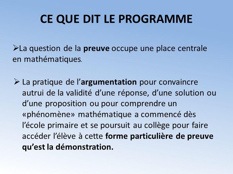 DANS LE COURS Réserver le mot « démonstration » à de vraies démonstrations mathématiques, ne pas lutiliser pour des illustrations de raisonnements.