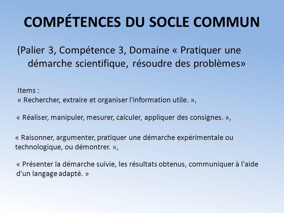 (Palier 3, Compétence 3, Domaine « Pratiquer une démarche scientifique, résoudre des problèmes» COMPÉTENCES DU SOCLE COMMUN Items : « Rechercher, extr